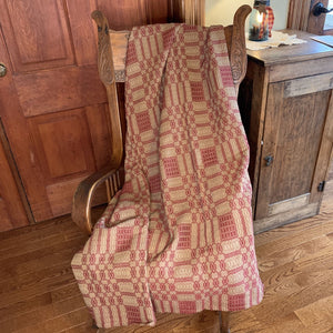 Westbury Cranberry and Tan Woven Throw