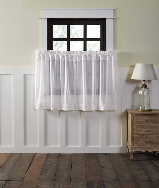White Ruffled Sheer Tier Curtains 36 Primitive Star