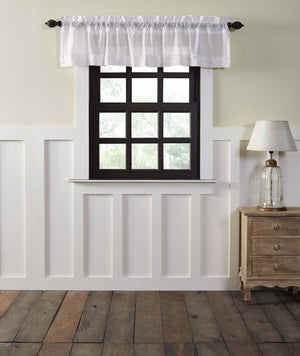 White Ruffled Sheer Valance 90""