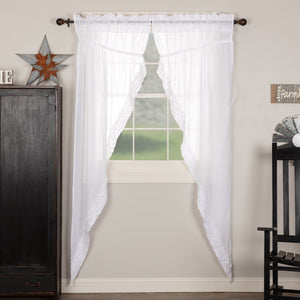 White Ruffled Sheer Long Prairie Curtains 84""