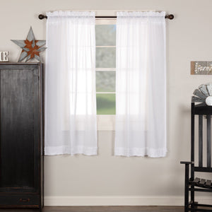 White Ruffled Sheer Short Panel Curtains 63""