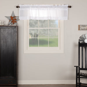 White Ruffled Sheer Valance 60""