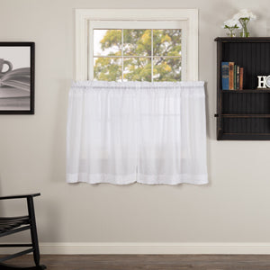 White Ruffled Sheer Tier Curtains 36""