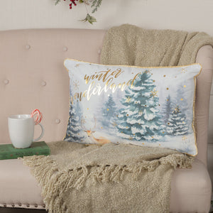 "Winter Wonderland Pillow 14x22"" Filled"