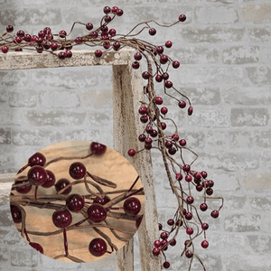 Wispy Burgundy Berry Garland 4'