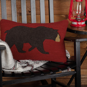 "Wyatt Bear Hooked Pillow 14x22"" Filled"