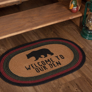 "Wyatt Bear ""Welcome to Our Den"" Oval Braided Rug 20x30"""