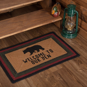 "Wyatt Bear ""Welcome to Our Den"" Rectangle Braided Rug 20x30"""