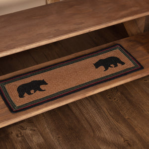 Wyatt Bear Rectangle Braided Stair Tread Latex Backed 8.5x27""