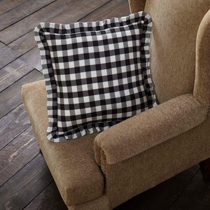 "Annie Buffalo Check Black Fabric Pillow 18"" Filled"