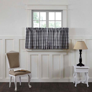 Annie Buffalo Check Black Lined Tier Curtains 24""