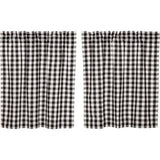 "Annie Buffalo Check Black Lined Tier Curtains 36"" - Primitive Star Quilt Shop"
