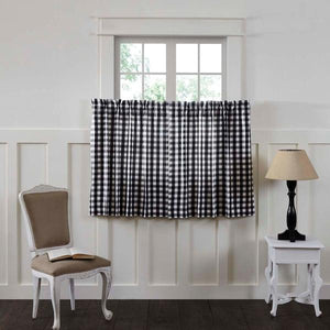 Annie Buffalo Check Black Lined Tier Curtains 36""