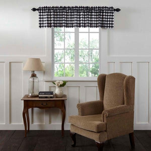 Annie Buffalo Check Black Lined Valance 72""