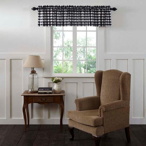 Annie Buffalo Check Black Lined Valance 90""