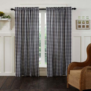 Annie Buffalo Check Black Lined Panel Curtains 84""