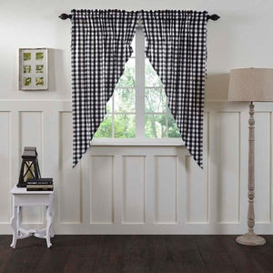 Annie Buffalo Check Black Lined Prairie Curtains 63""