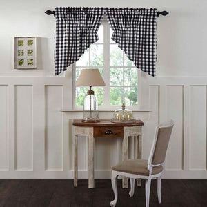Annie Buffalo Check Black Lined Prairie Swag Curtains