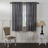"Annie Buffalo Check Black Lined Short Panel Curtains 63"" - Primitive Star Quilt Shop"