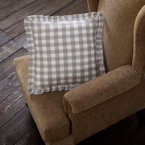 "Annie Buffalo Check Grey Fabric Pillow 18"" Filled"