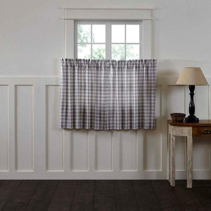 Annie Buffalo Check Grey Lined Tier Curtains 36""