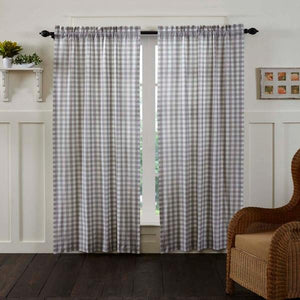 Annie Buffalo Check Grey Lined Panel Curtains 84""