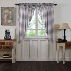 Annie Buffalo Check Grey Lined Prairie Curtains 63""