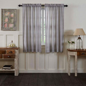 Annie Buffalo Check Grey Lined Short Panel Curtains 63""