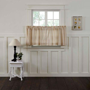 Annie Buffalo Check Tan Lined Tier Curtains 24""