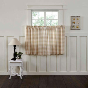 Annie Buffalo Check Tan Lined Tier Curtains 36""