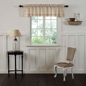 Annie Buffalo Check Tan Lined Valance 72""