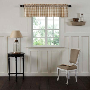 Annie Buffalo Check Tan Lined Valance 90""