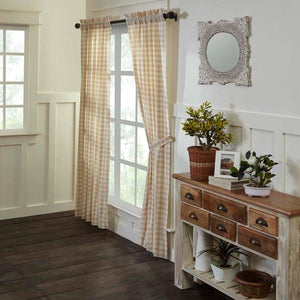 Annie Buffalo Check Tan Lined Panel Curtains 84""