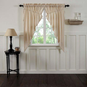 Annie Buffalo Check Tan Lined Prairie Curtains 63""