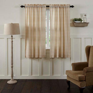 Annie Buffalo Check Tan Lined Short Panel Curtains 63""