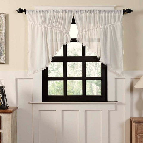 Antique White Fringed Tobacco Cloth Prairie Swag Curtains