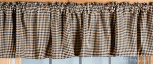 Colonial Star Black and Tan Checkered Lined Valance 72""