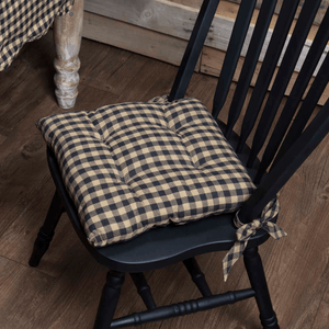 Black Check Chair Pad 15""