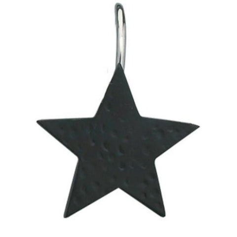 Black Star Shower Curtain Hooks - Set of 12 - Primitive Star Quilt Shop