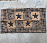 "Vintage Star Black Quilted King Sham 21x37"" - Primitive Star Quilt Shop"