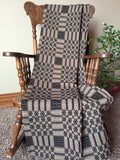 Primitive Black and Tan Woven Coverlet Throw - Primitive Star Quilt Shop