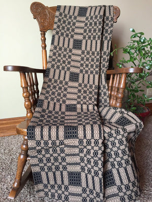 Primitive Black and Tan Woven Coverlet Throw