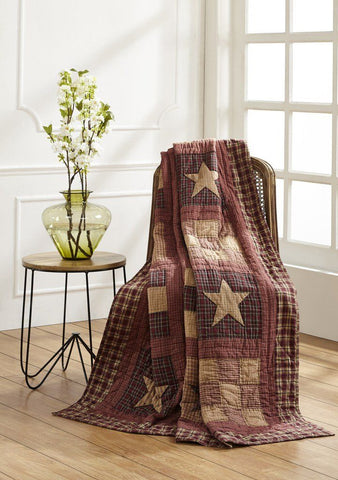 Bradford Star Quilted Throw - Primitive Star Quilt Shop