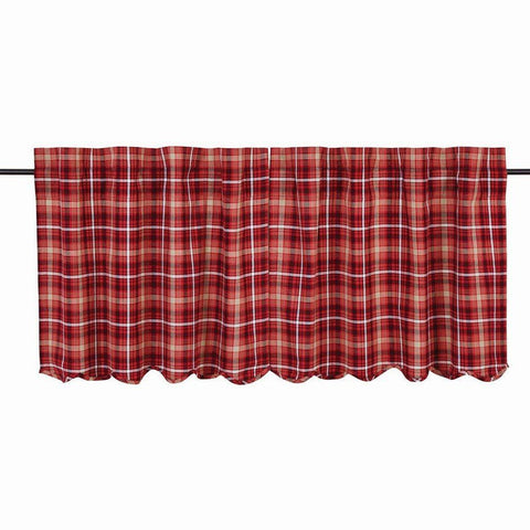 "Braxton Scalloped Lined Tier Curtains 24"" - Primitive Star Quilt Shop"