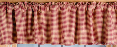 Colonial Star Burgundy and Tan Checkered Lined Valance 72""