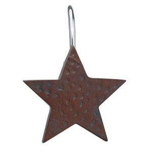 Burgundy Star Shower Curtain Hooks - Set of 12