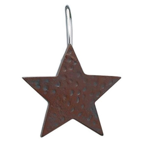 Burgundy Star Shower Curtain Hooks - Set of 12 - Primitive Star Quilt Shop