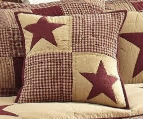 "Burgundy and Tan Patchwork Star Quilted Pillow 16"" Filled"