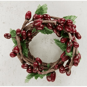 Burgundy Pip & leaves Candle Ring - 1""