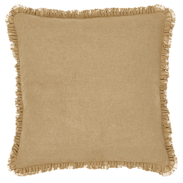 Burlap Natural Fringed Pillow 16 Quot Filled Primitive Star